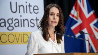 La Première ministre néo-zélandaise Jacinda Ardern, le 20 avril 2020 à Wellington. (MARK MITCHELL / AFP)