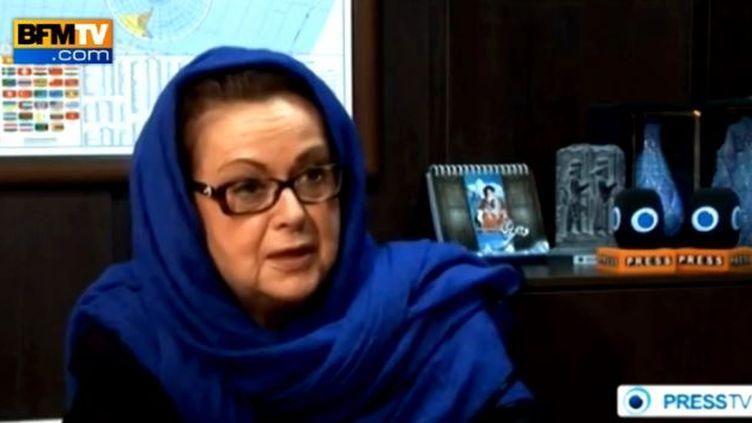 Capture d'écran de l'entretien de Christine Boutin à la chaîne iranienne PressTV, le 13 novembre 2013. (PRESS TV / BFMTV)