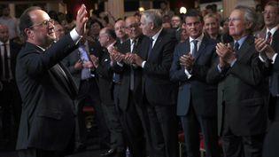 François Hollande, le 8 septembre 2016, après son discours salle Wagram, à Paris. (CHRISTOPHE ENA / POOL)
