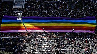 Banderole arc-en-cielà Sao Paulo (Brésil), en juin 2017. (MIGUEL SCHINCARIOL / AFP)