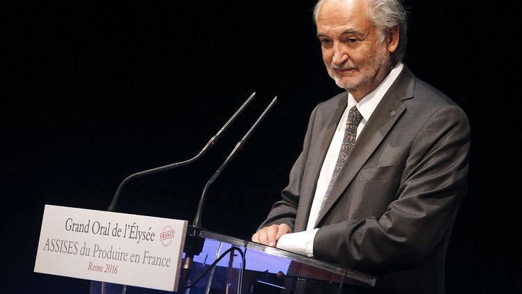 L'économiste Jacques Attali lors d'un discours à Reims (Marne), le 9 septembre 2016. (FRANCOIS NASCIMBENI / AFP)