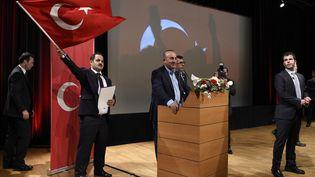Le ministre turc des Affaires étrangères, Mevlüt Cavusoglu à Metz le dimanche 12 mars 2017 (JEAN-CHRISTOPHE VERHAEGEN / AFP)