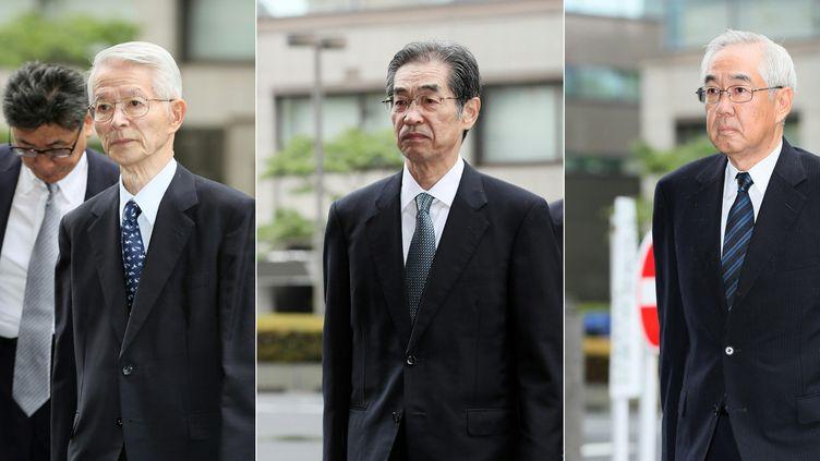 Les trois anciens dirigeants de Tepco avant leur procès au Japon, en juin 2017. (STR / JIJI PRESS)