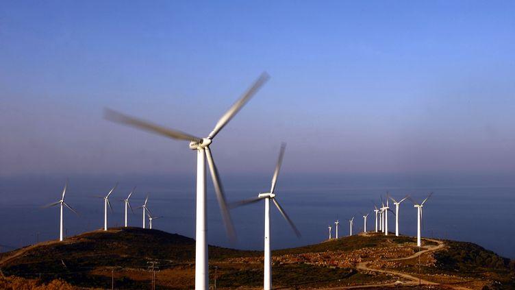 Des éoliennes en Grèce (photo d'illustration) (ARIS MESSINIS / AFP)