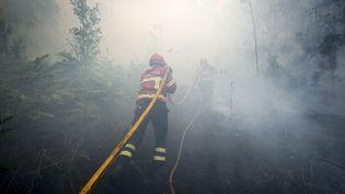 Des pompiers dans le nord du Portugal, le 8 août 2016. (MIGUEL RIOPA / AFP)