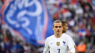 Le joueur de l'équipe de France Antoine Griezmann durant la rencontre de préparation à l'Euro face à la Bulgarie, le 8 juin 2021, au Stade de France (Seine-Saint-Denis). (FRANCK FIFE / AFP)