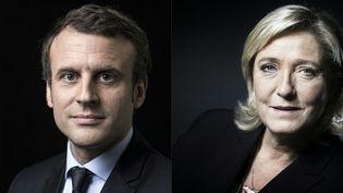 Montage des deux finalistes de l'élection présidentielle française. Emmanuel Macron et Marine Le Pen ont remporté le premier tour, le 23 avril 2017. (ERIC FEFERBERG / AFP)