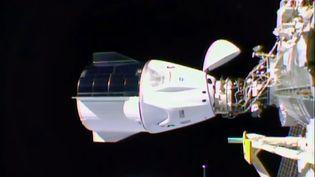 La capsule de l'entreprise SpaceX arrimée à la Station spatiale internationale, avec quatre astronautes à bord, le 17 novembre 2020. (NASA TV / AFP)