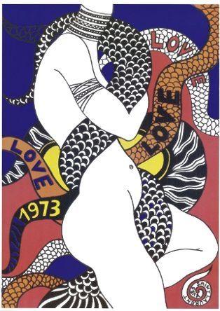 Croquis d'une affiche, Love, en 1973  (Fondation Pierre Bergé -Yves Saint Laurent )