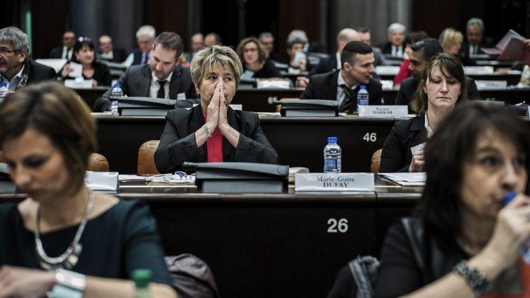 La socialisteMarie-Guite Dufayau Conseil régional de Bourgogne-Franche-Comté, dont elle est devenue présidente, le 4 janvier 2016 à Dijon. (JEFF PACHOUD / AFP)