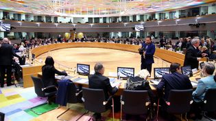Les ministres de l'Intérieur et les ministres de la Justice de l'Union européenne réunis à Bruxelles, la capitale belge, le 4 mars 2020. (DURSUN AYDEMIR / ANADOLU AGENCY / AFP)
