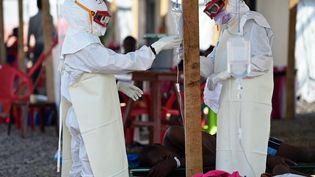 Dans un centre de traitement tenu par la Croix Rouge, en Sierra Leone, le 15 novembre 2014. (FRANCISCO LEONG / AFP)