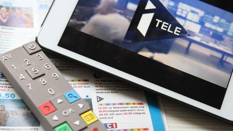 Le logo de la chaîne en continu i-Télé le 17 octobre 2016. (MAXPPP)