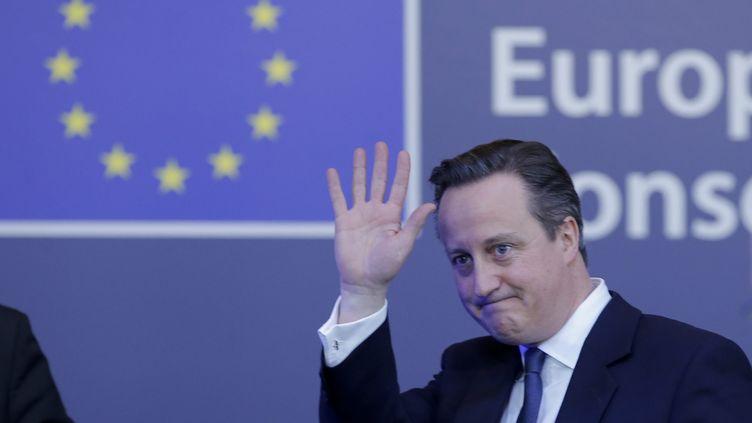David Cameron, le 19 février 2016 à Bruxelles. (OLIVIER HOSLET / EPA)