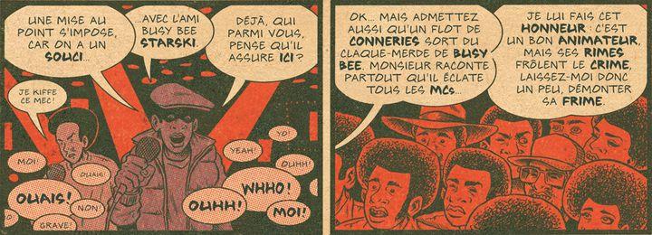 """Le début de la battle durant laquelle Kool Moe Dee atomise Busy Bee en 1981, extrait de """"Hip Hop Family Tree Volume 1"""", page 87.  (Ed Piskor / Fantagraphics / Papa Guédé Editions)"""