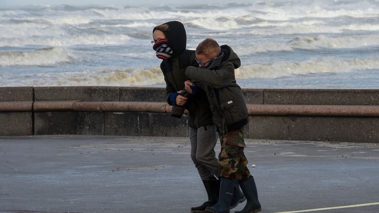 Des promeneurs surla digue de Wimereux (Pas-de-Calais) lors du passage de la tempête Eleanor, le 3 janvier 2018. (FRANCOIS LO PRESTI / AFP)