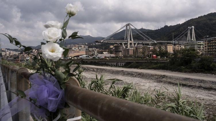 Le pont Morandi accidenté à Gênes, le 14 septembre 2018. (MARCO BERTORELLO / AFP)