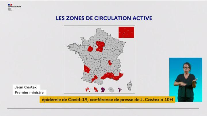 Carte des 21 départements placés en zone rouge au 27 août 2020. (CAPTURE D'ECRAN FRANCEINFO)
