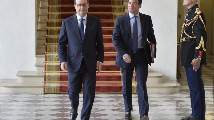 François Hollande et Manuel Valls le 27 août 2014 à l'Elysee (FRED DUFOUR / AFP )