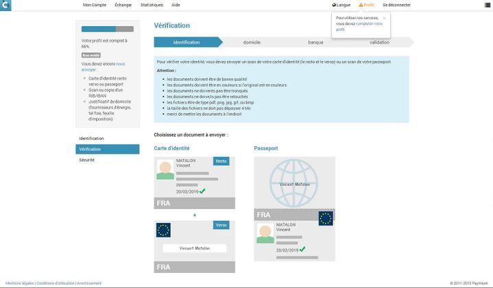 Etape obligatoire lors de l'inscription sur une bourse d'échange : la vérification de l'identité. (VINCENT MATALON / FRANCETV INFO)
