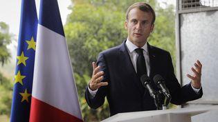 Emmanuel Macron au Morne-Rouge (Martinique), le 27 septembre 2018. (THOMAS SAMSON / AFP)