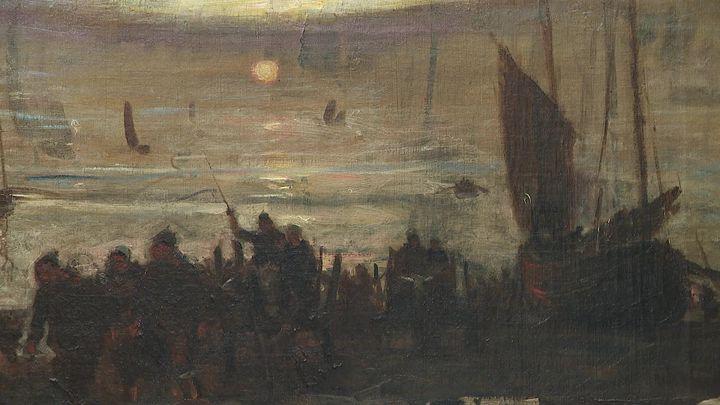 Retour de pêche sur la plage de Berck par Eugène Trigoulet. (CAPTURE D'ÉCRAN FRANCE 3 / HAZARD Clothilde)