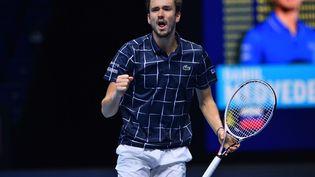 Le joueur russe Daniil Medvedev après sa victoire contre Rafael Nadal en demi-finales du Masters à Londres samedi 21 novembre 2020. (GLYN KIRK / AFP)