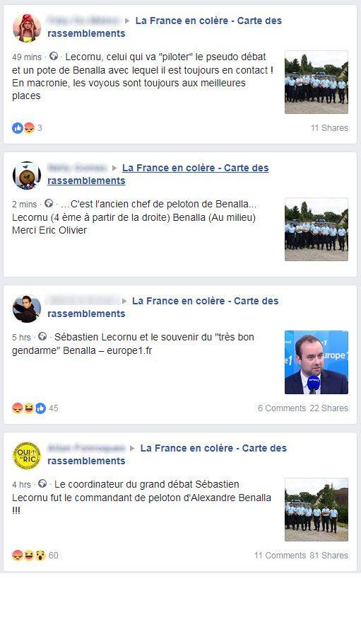 """Capture d'écran de plusieurs messages au sujet de la nomination de Sébastien Lecornu, sur un groupe regroupant plusieurs centaines des milliers de """"gilets jaunes"""". (FACEBOOK)"""