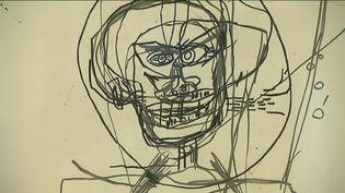 """""""Sans titre"""", 1986. Ce dessin de Jean-Michel Basquiat prêté par le FRAC Picardie, a servi de point de départ à l'exposition. (J.Arrignon / France Télévisions)"""