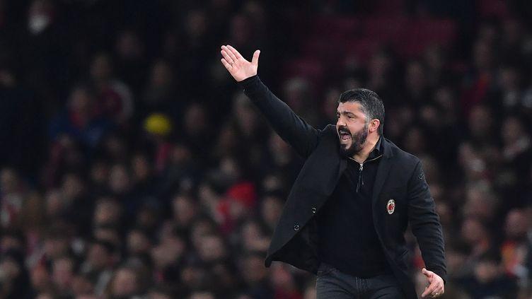 Gennaro Gattuso, toujours très actif sur le banc de l'AC Milan (BEN STANSALL / AFP)