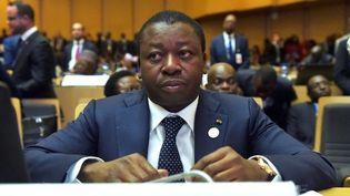 Le président togolais, Faure Gnassingbé, lors d'une réunion internationale. Il avait lancé le projet d'électrification solaire locale en 2017. (SIMON MAINA / AFP)