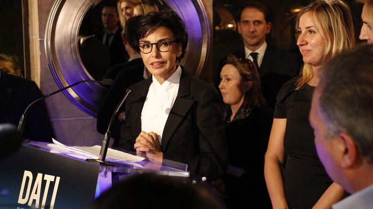 Rachida Dati, lors de son premier meeting de campagne pour élections municipales 2020 à Paris, le 7 novembre 2019. (GEOFFROY VAN DER HASSELT / AFP)
