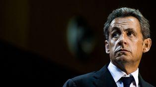 L'ancien président de la République Nicolas Sarkozy, lors d'un meeting à Marseille (Bouches-du-Rhône), le 28 octobre 2014. (LILIAN AUFFRET / SIPA)
