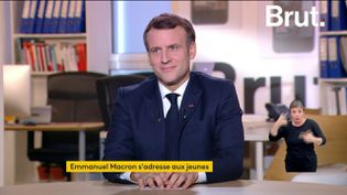 Emmanuel Macron, le président de la République, répond aux questions du média en ligne Brut, le 4 décembre 2020. (FRANCEINFO)