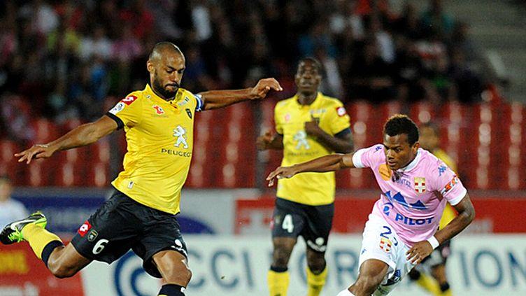 Sochaux affronte Evian dans une finale pour le maintien en Ligue 1. (JEAN-PIERRE CLATOT / AFP)