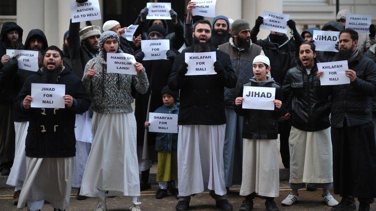 12 janvier 2013, 50 musulmans avecpancartes manifestent contre l'intervention française au Mali à Londres (CARL COURT / AFP)