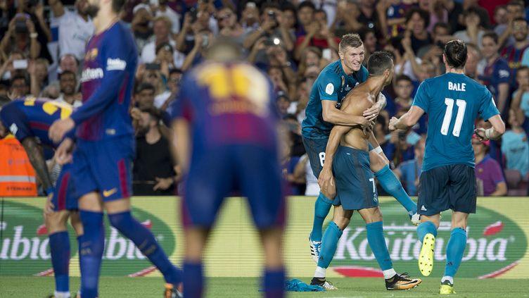 Cristiano Ronaldo, buteur puis expulsé contre Barcelone.  (JOSEP LAGO / AFP)