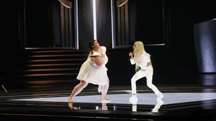 Bilal Hassani sur scène, lors de la demi-finale de l'Eurovision, à Tel-Aviv, le 17 mai 2019. (ILIA YEFIMOVICH / DPA / AFP)