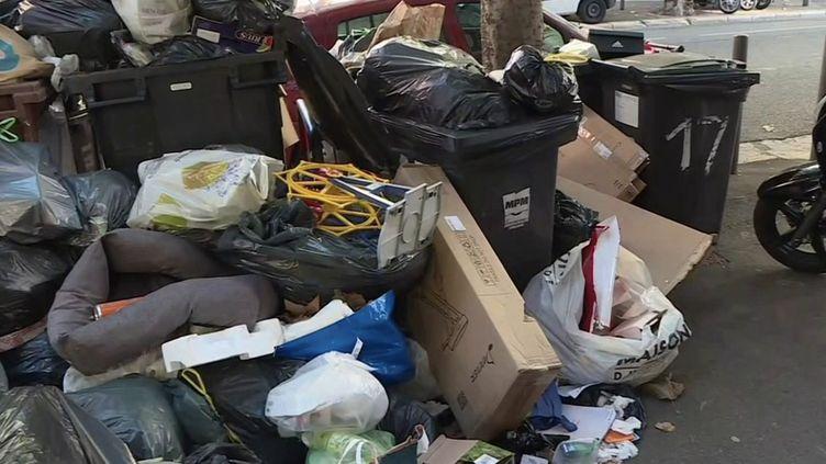 Depuis six jours, les éboueurs de Marseille (Bouches-du-Rhône) ne ramassent plus les déchets pour protester contre la décision de la métropole d'augmenter leur temps de travail sans changer leur salaire. (CAPTURE ECRAN FRANCE 3)