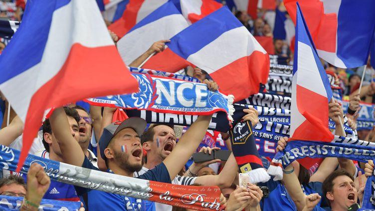 Des supporters français lors du match d'ouverture de l'Euro, entre la France et la Roumanie, le 10 juin 2016 au Stade de France. (PETER KNEFFEL / DPA / AFP)