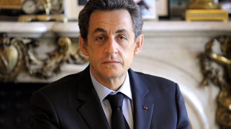 Le président Nicolas Sarkozy, photographié à l'Elysée le 30 mars. (ALEXANDRE MARCHI / MAXPPP)