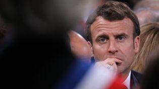 Emmanuel Macron, le 4 avril 2019, lors de la dernière étape du grand débat national organisé à Cozzano (Corse-du-Sud). (LUDOVIC MARIN / AFP)
