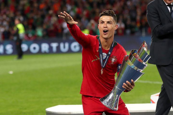 Cristiano Ronaldo après avoir remporté la première Ligue des nations en juin 2019 (PEDRO FIUZA / NURPHOTO)