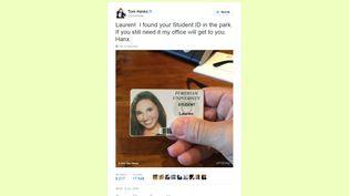 Capture d'écran du tweet de l'acteur américain Tom Hanks indiquant, le 6 octobre 2015, qu'il a trouvé la carte d'étudiante d'une certaine Lauren. (TWITTER)