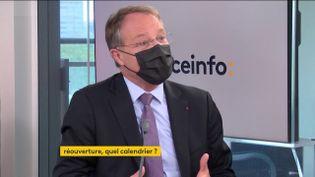 François Asselin, président de la CPME, était l'invité éco de franceinfo du mercredi 28 mai 2021. (FRANCEINFO / RADIOFRANCE)