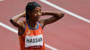 La championne du monde du 1500m, Sifan Hassan, a réalisé une remontée fantastiqueen série de sa distance de prédilection, lundi 2 août, lors des Jeux de Tokyo. (GIUSEPPE CACACE / AFP)