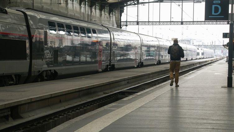 Les quais de la gare de Lyon, à Paris, le 17 mars 2020. (QUENTIN DE GROEVE / HANS LUCAS / AFP)