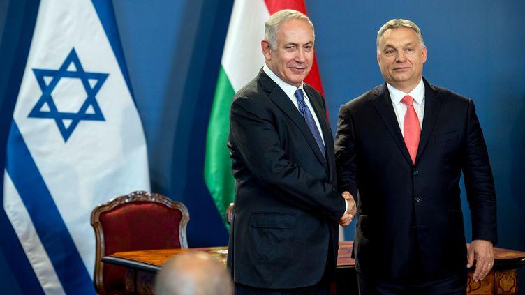 Rencontre entre Benjamin Netanyahu et Viktor Orban, à Budapest, en juillet 2017. (KAROLY ARVAI / POOL)
