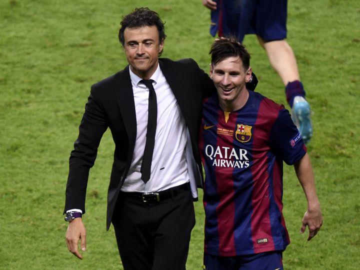 Lionel Messi et Luis Enrique après la victoire en Ligue des champions en 2015