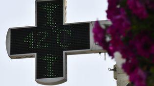 L'enseigne électronique d'une pharmacie de Belin-Béliet dans le sud-ouest de la France affiche 42 °C le 23 juillet 2019 (GEORGES GOBET / AFP)